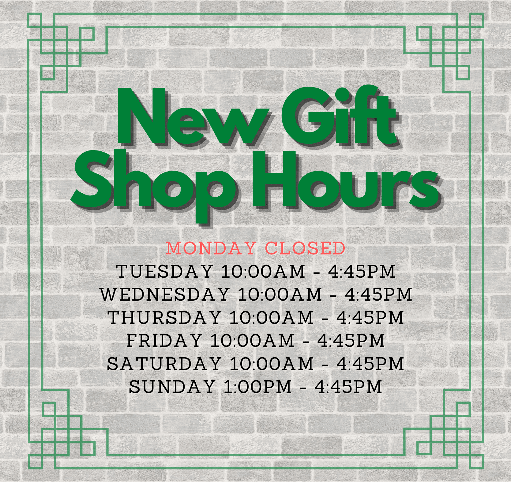 New Gift Shop Hours